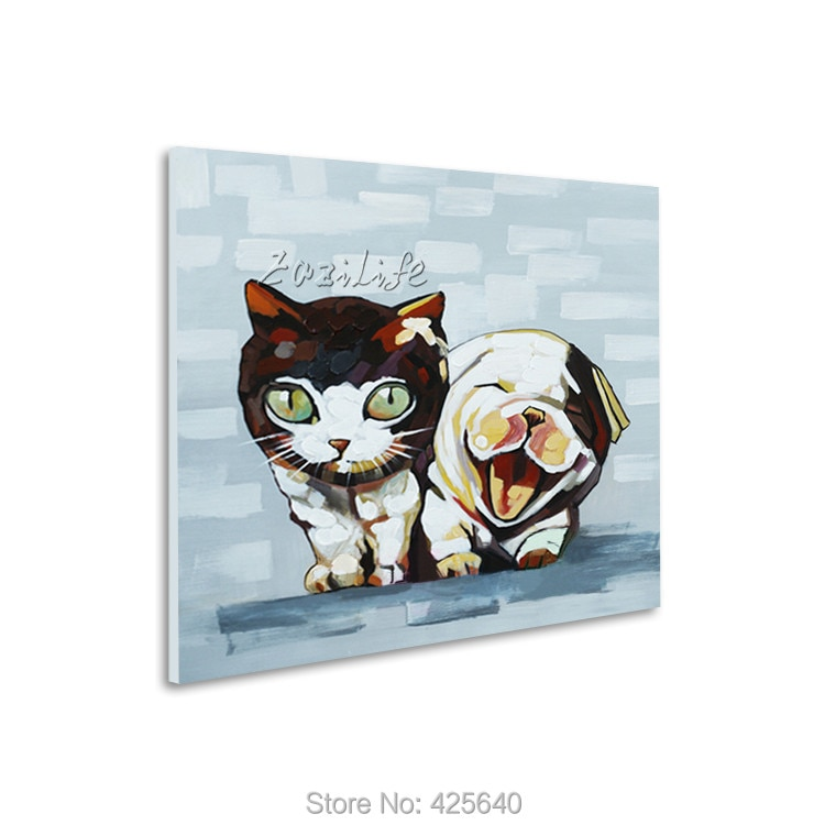 Oil painting on canvas Pop art puppy  modern abstract oil painting handmade oil painting  Animal Pop Art Home Decor Living Room