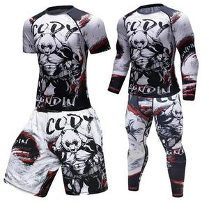 Brand New Men Gym Suits Fighting panda Sportswear Compression Suits Running Set Fitness Tight Sport Suit Men Outdoor Jogging set