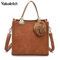 high quality PU leather handbag with fur ball Hot sale handbag women casual tote bag female large shoulder messenger bags K28