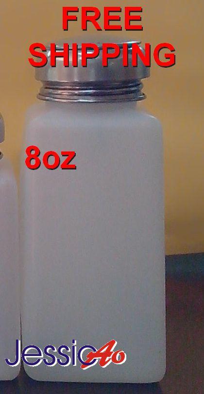 Botella de plástico blanco de 8oz para soldar con tapa de bomba de metal Alcohol/soldadura botella de flujo bomba dispensadora contenedor de botella