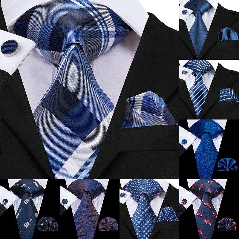 Conjunto de corbatas azules Hi-Tie de 8,5 cm, corbatas clásicas de seda a rayas y pañuelos, conjunto de gemelos