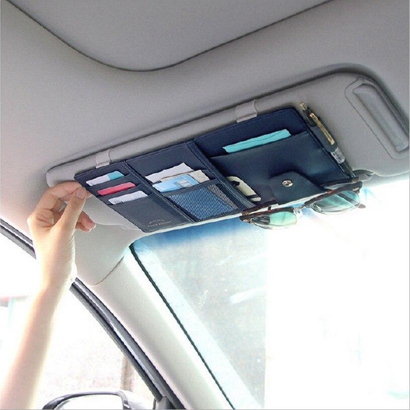 Visor do carro organizador saco de armazenamento de pára-sol automático multi-funcional titular do plutônio para cartões de bilhete do telefone móvel óculos documentos