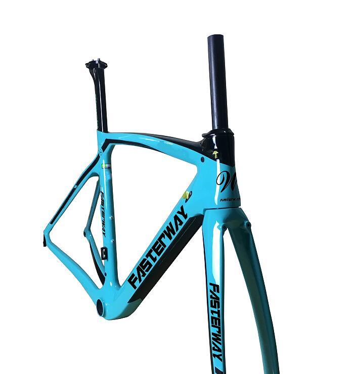 Fasterway XR4 Taiwán hizo Cuadro De Carbono bicicleta de carretera T1100 UD azul oscuro negro Marco conjunto de Cuadro De Carbono + tija de sillín + horquilla + abrazadera + auriculares