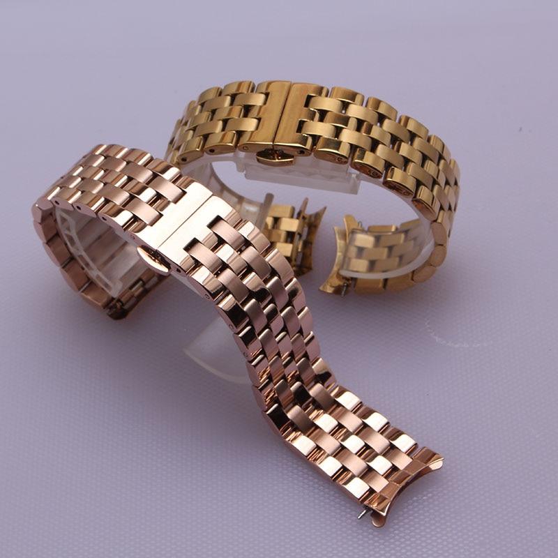 Curved ends watchbands strap bracelet rose gold Watch bands 16mm 18mm 20mm 22mm 24mm for men women wrist watch accessories new