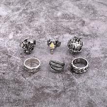 1 PC Retro Punk Dragon Head Hollow Weven Grote Ring Vrouwen Mannen Trendy Vintage Zilveren Kleur Veer Geit Open Ring sieraden R68