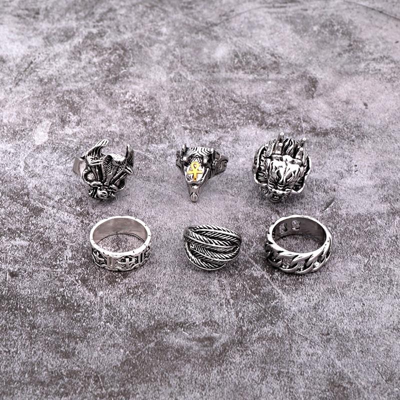 1PC Retro Punk Dragon Head Hollow Weaving Big Ring Women Men Trendy Vintage Metal Color Feather Goat Open Ring Jewelry R68