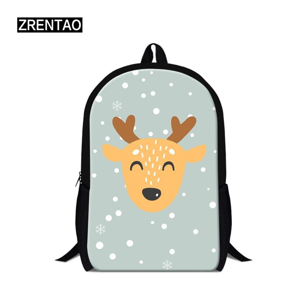ZRENTAO-حقيبة ظهر من البوليستر للتلاميذ ، حقيبة ظهر مدرسية بطبعة غزال كرتونية ، حقيبة سفر للمراهقين