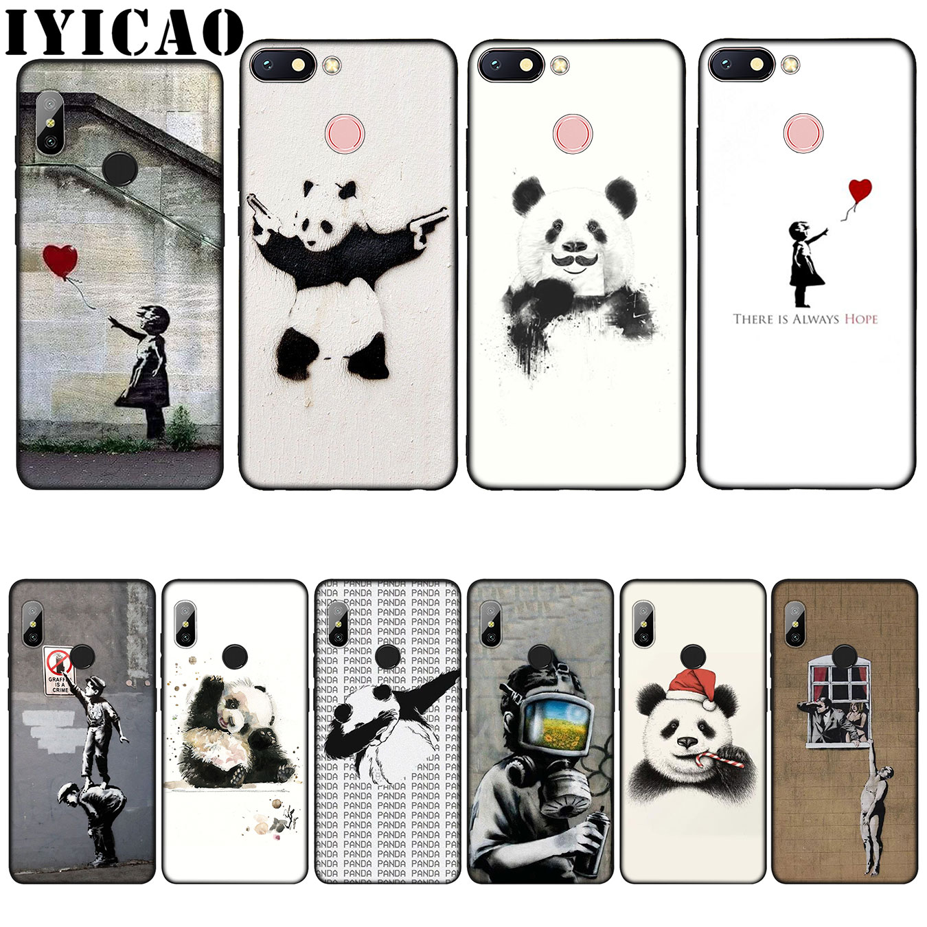 IYICAO arte de la calle Banksy Graffiti Panda suave de silicona caso para Xiaomi Redmi 6A 5A Nota 8 7 4 4X 5 6 Plus Pro negro de la cubierta del TPU del
