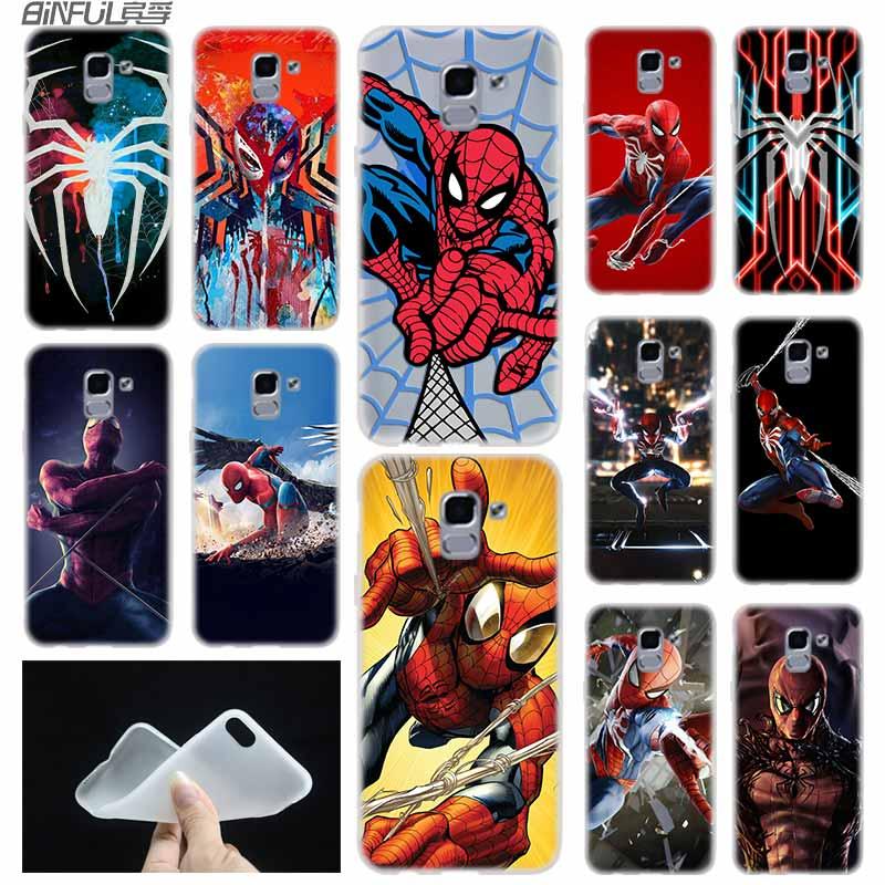 Marvel Comics Spider Man case Cover TPU Coque For Samsung Galaxy J6 J8 J3 J5 J7 J4 J2 J1 Plus 2018 2016 2017 EU Prime Ace