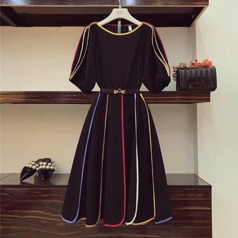 Hamaliel vestido midi sexo feminino, meia manga listrada colorida patchwork vestido