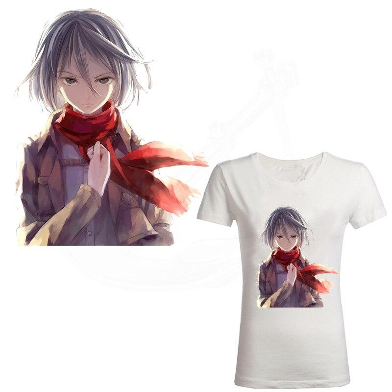 Caliente anime Attack on Titan Mikasa adhesivos Ackerman 25*20cm parche camiseta vestidos suéter transferencia térmica parches de hierro