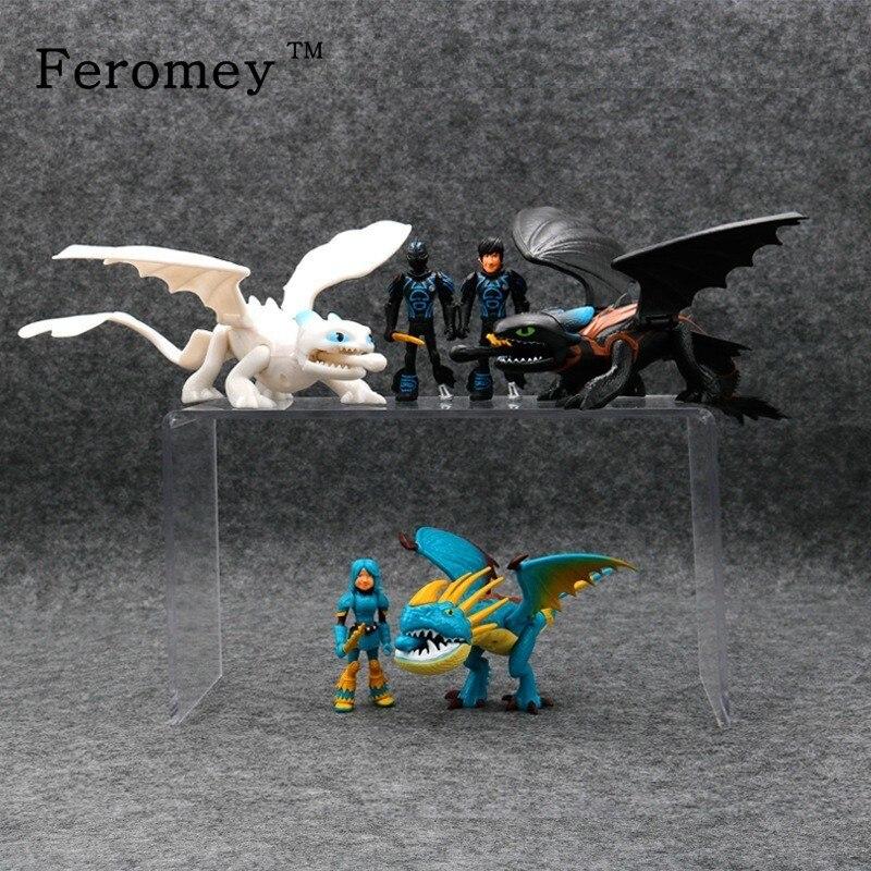 2019 cómo entrenar a tu dragón 3 figuras de dragón sin dientes muñeca furia nocturna Light Fury figuras de acción de juguete niños regalo
