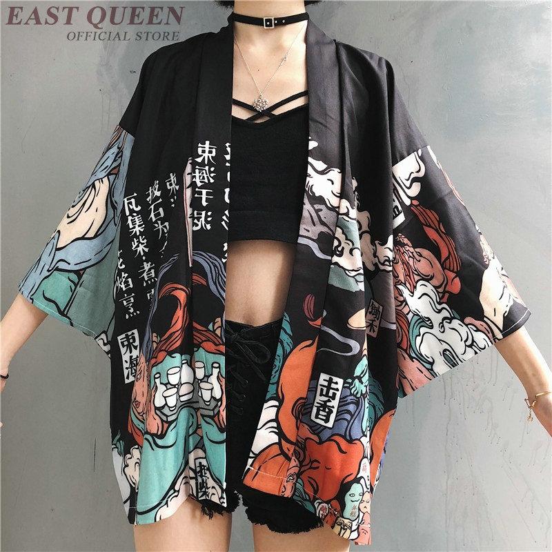 Kimonos Woman 2020 Japanese Kimono Cardigan Cosplay Shirt Blouse For Women Japanese Yukata Female Summer Beach Kimono  FF1126