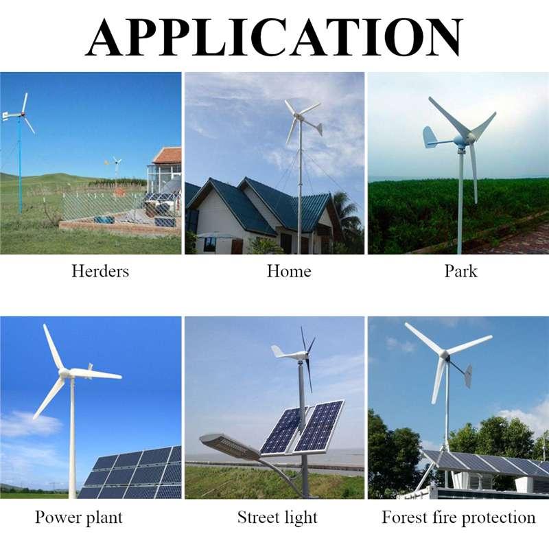 9000W 12V/24V/48V 6 Nylon Fiber Blades Wind Turbine Generator Horizontal Power Windmill Energy Turbines Charge Fit for Home