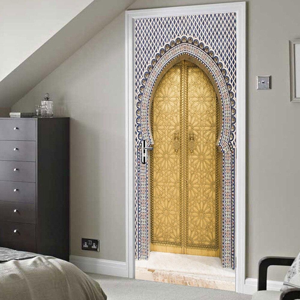 3D наклейка на дверь, мусульманская Ретро дверь, домашние обои, наклейки для спальни, гостиной, коридора, двери, украшения, ПВХ, наклейка на стену