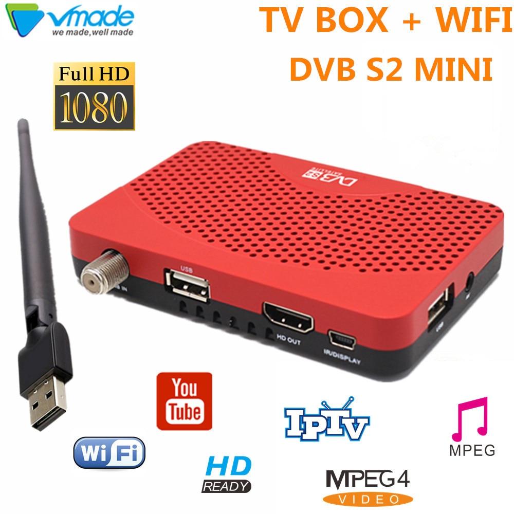 DVB-S2 Digital MINI receptor de TV por satélite apoyo Youtube IPTV CCCAM DVB S2 sintonizador de TV con WIFI USB Dongle MPEG4 h.264 TV box DVB