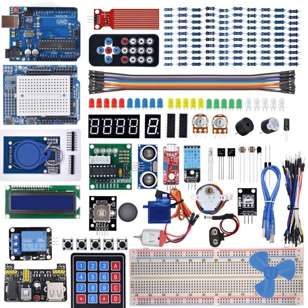 Kit de inicio para Arduino Uno R3-Placa de pruebas/Motor de paso/Servo /1602 LCD/cable de puente/UNO R3 con Tutorial