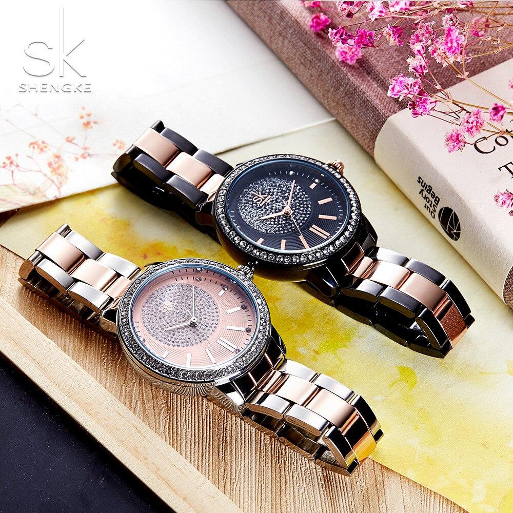 Shengke Rose Gold Watch Women Quartz Watches Ladies Top Brand Crystal Luxury Female Wrist Watch Girl Clock Relogio Feminino enlarge