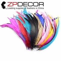 zpdecor bulk sale 40 45cm16 18inch bleach good quality mixed color rooster feathers for carnival decoration headdress feathers
