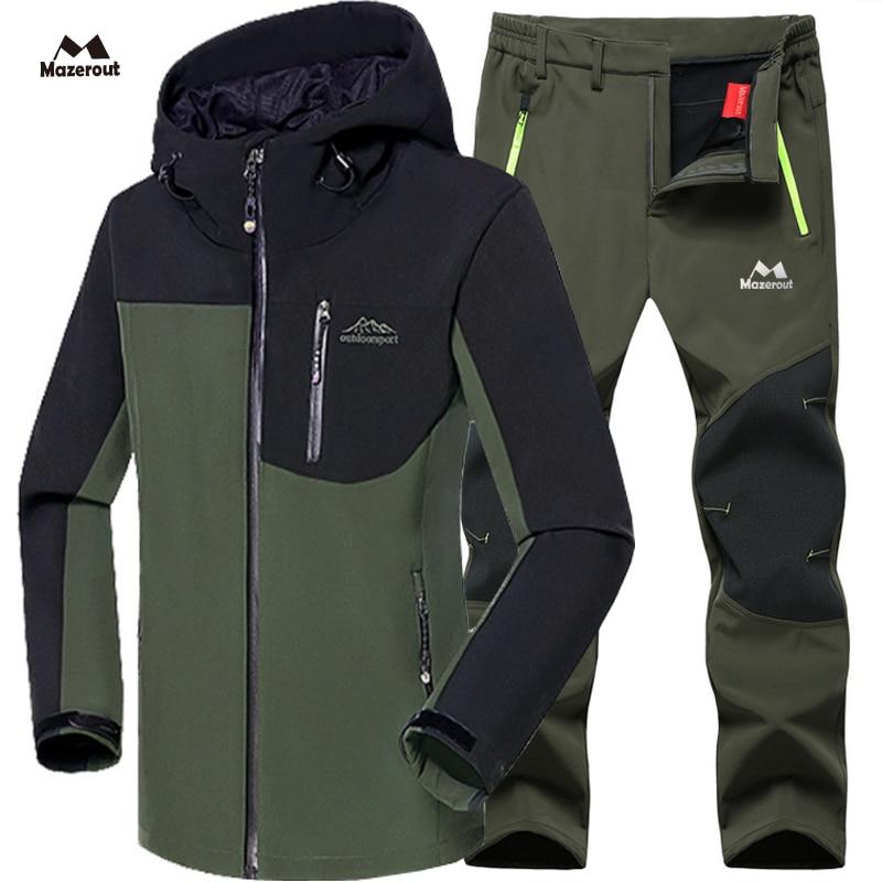 Мужская зимняя водонепроницаемая лыжная куртка, Флисовая теплая куртка для походов, лыжных походов, брюки
