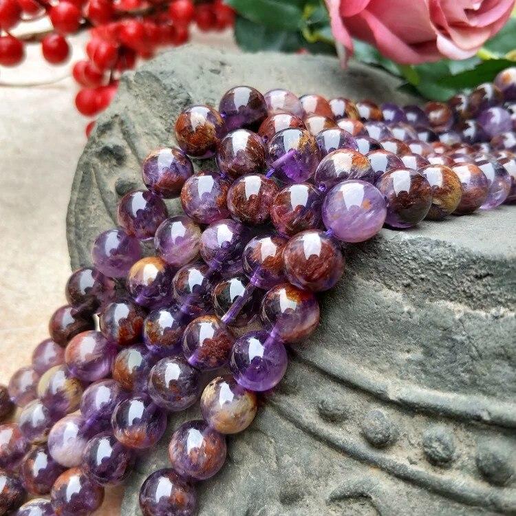 """Amatista fantasma redonda de 15 """"de 6/8/10/12mm para hacer joyas DIY, cuentas sueltas FPPJ, venta al por mayor, cuentas de piedra preciosa natural"""