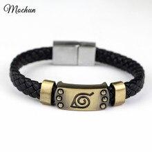 MQCHUN, pulseras trenzadas de cuero de Naruto y brazaletes de Anime caliente Akatsuki Itachi Konoha, Logo de aleación, pulsera, joyería para disfraz