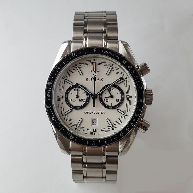 Cronógrafo reloj de cuarzo miyota japonés acero cepillado caja pulsera 40mm vk64 y vk63 pulido back racing