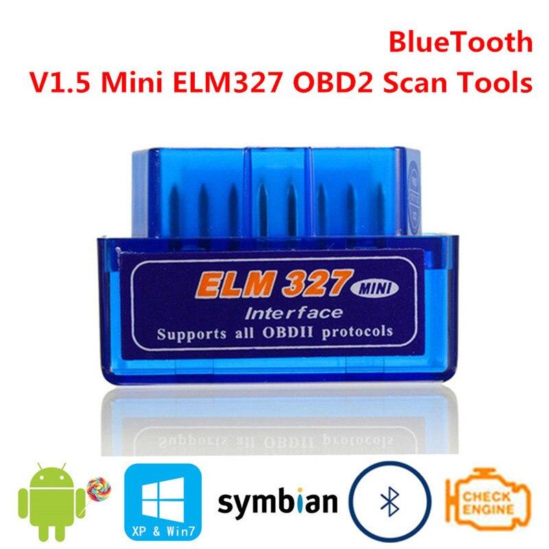 V1.5 Mini ELM327 OBD2 Bluetooth Smart Intelligent Scan Tools ELM 327 OBDII OBD 2 II Diagnostic Car Interface Scanner Sensor
