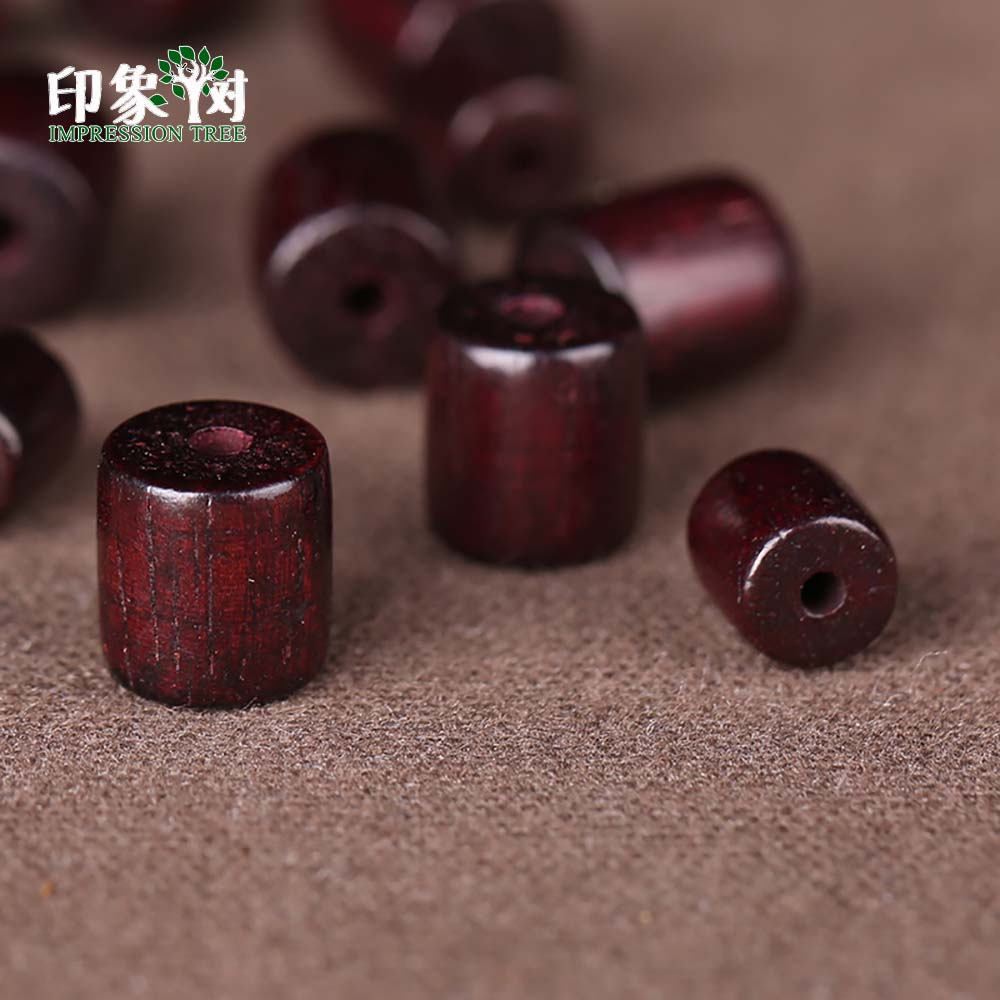 Buddhist Wood Loose Beads 6X6mm/8x8mm  Natural Red Sandalwood Prayer Mala Cylinder Barrel Wood Bead Smooth Spacer Bead 200