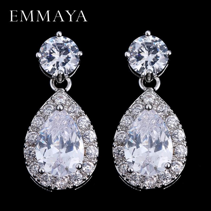EMMAYA Brand CZ Jewelry Classic Water Drop Luxury Cubic Zirconia Crystal Stone Wedding Bridal Earrings