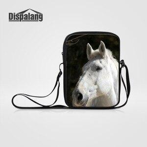 Dispalang Animal Women Messenger Bag Horse Print Children Crossbody Bag Men Small Travel Shoulder Bags Boys Girls Book Bag Bolsa