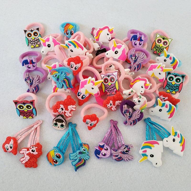10-12 pçs dos desenhos animados conjunto de banda de borracha básica crianças dos desenhos animados hairpin crianças elástico faixa de cabelo meninas grampo de cabelo acessórios de cabelo