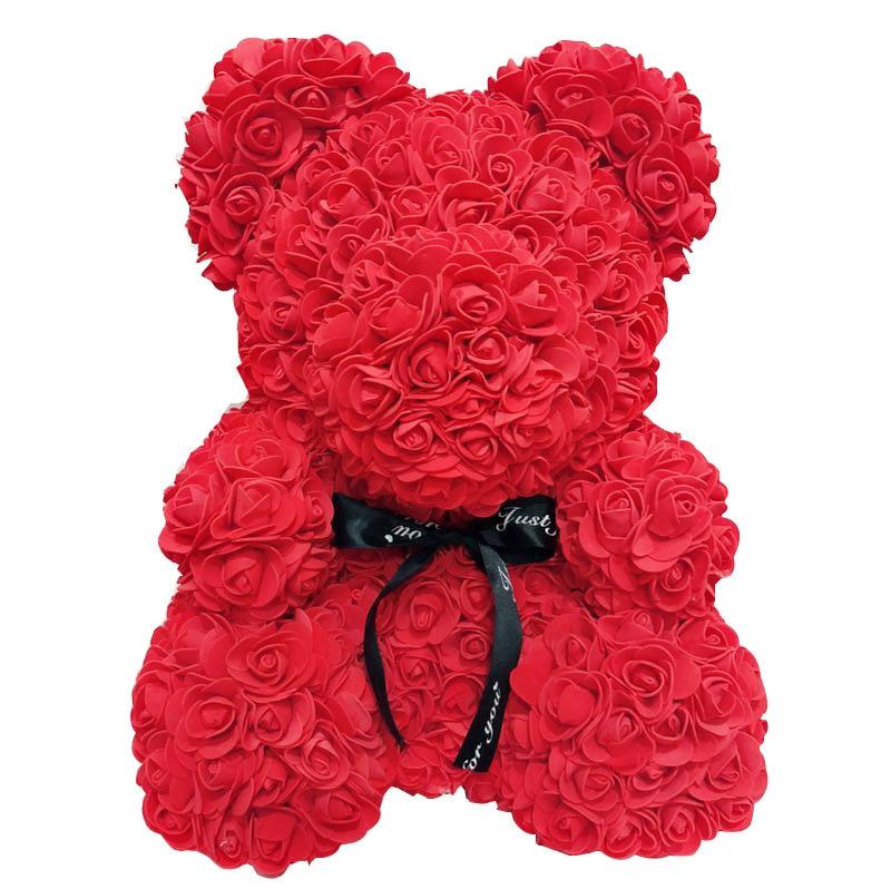 38 CM 10 colores oso rosa de peluche de juguete con caja de flores artificiales regalo del Día de San Valentín para las niñas decoración de Navidad san valentin