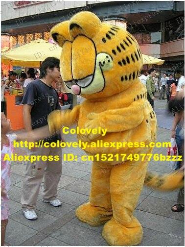Disfraz de Mascota de gato de fantasía amarillo Garfield Moggie, mascota de gato, mascota de adulto con nariz Rosa pequeña, ojos grandes, cabeza No.376, Envío Gratis