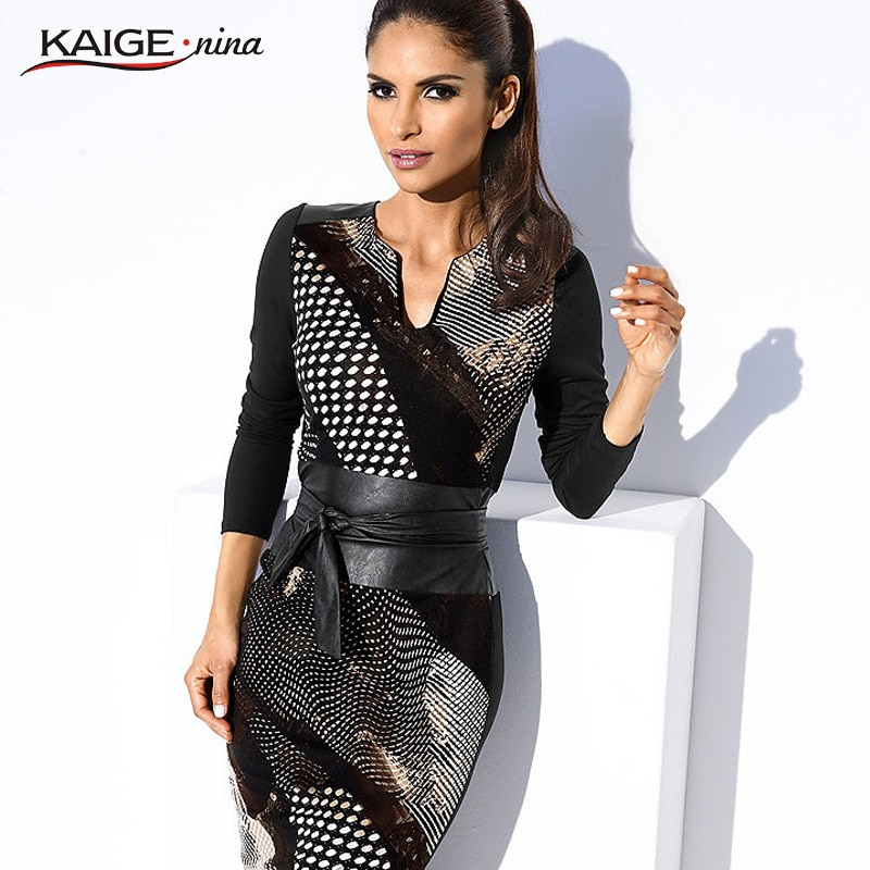 KaigeNina New Fashion Hot Sale Women Natural Simple Plaid Printing V-Neck Knee-Length Chiffon Dress 1176