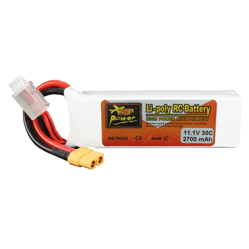 2PCS ZOP Power 11.1V 2700mAh 3S 30C Lipo Battery XT60 Plug  for RC Drone FPV Quadcopter High Quality Accs