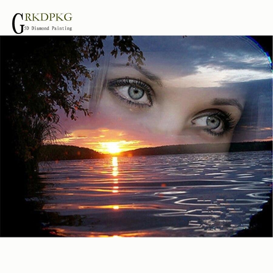 Diamante bordado mulher olho nascer do sol imagem de strass, pintura diamante ponto cruz quadrado completo diamante mosaico decoração da sua casa