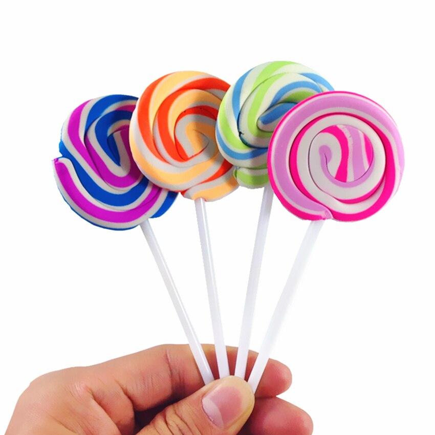 4 pçs/lote Doce Pirulito colorido forma eliminador de borracha doces simulação Adereços Atirar material escolar apagador para caneta apagável
