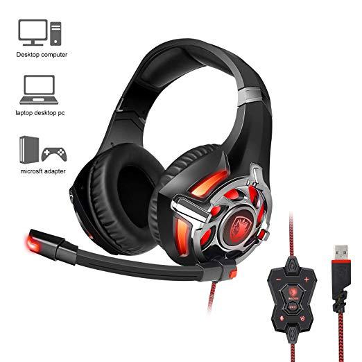 SADES R16 Gaming Headset auriculares USB 7,1 estéreo en oreja para PC/portátil jugador