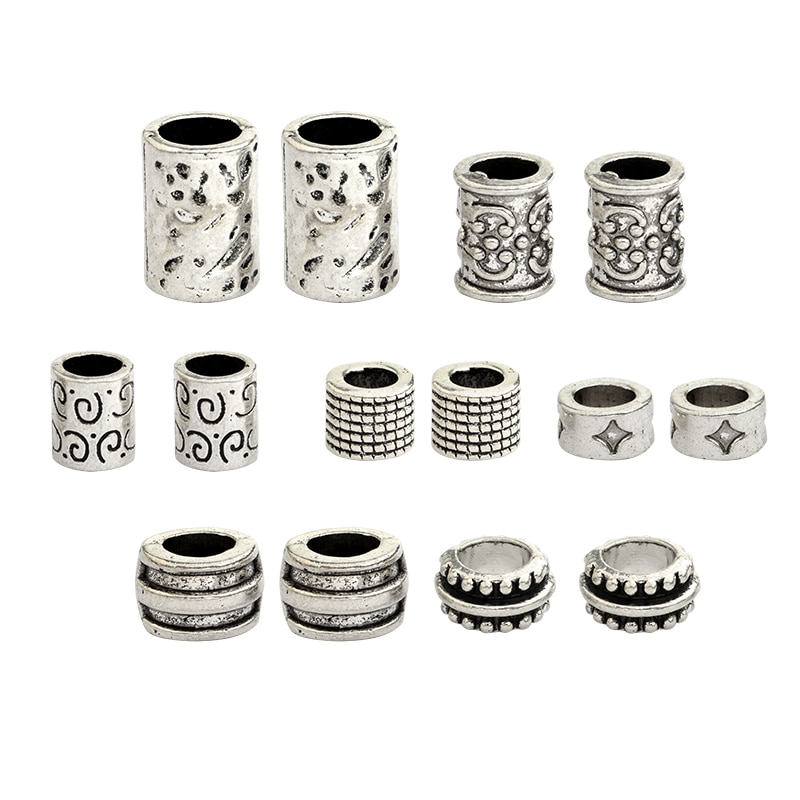 7pcs/set Viking beads Ancient Charm Viking Runes Braid beads for Mustache Dreadlock Hair Viking Jewe