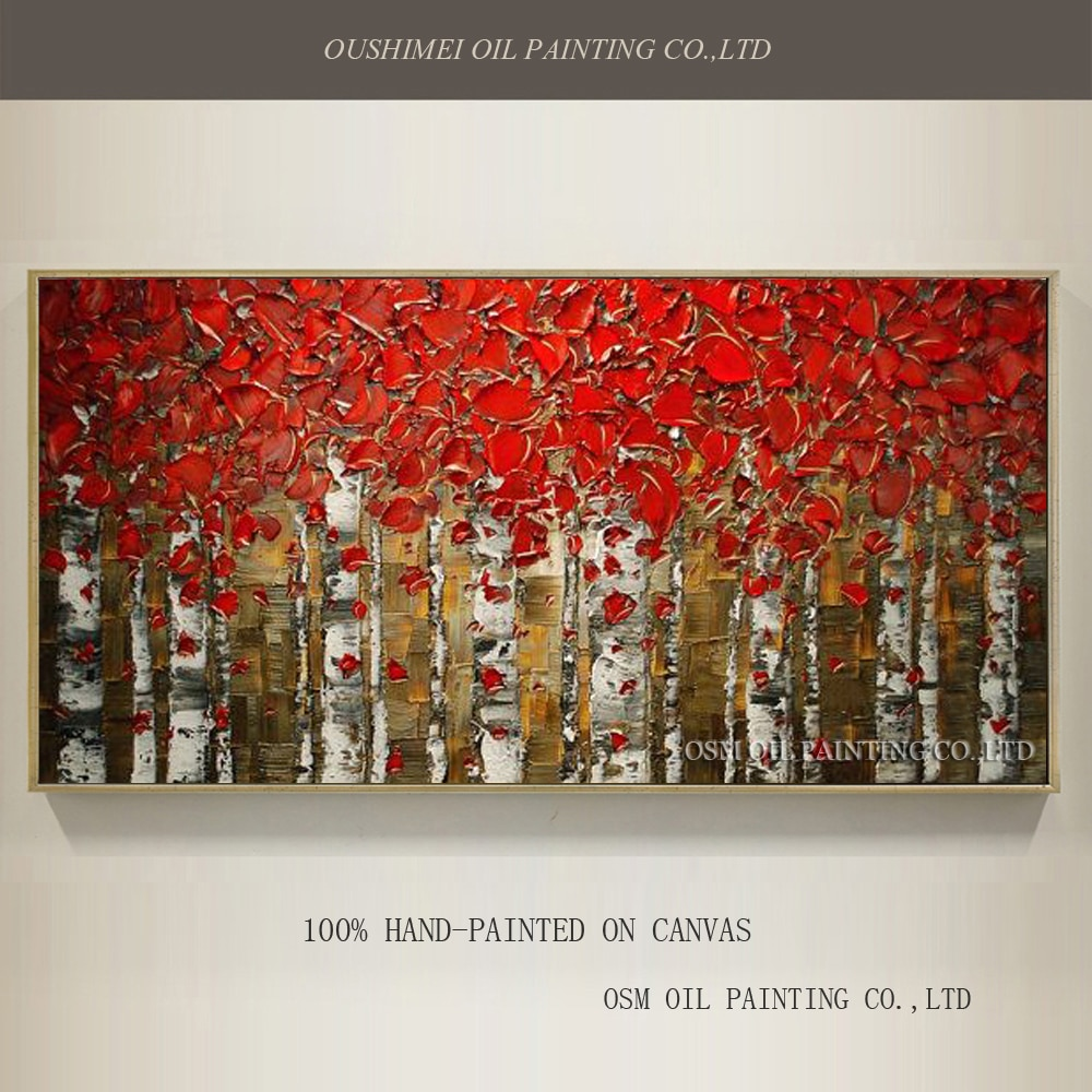 Superb artista pintado a mano de alta calidad abstracto abedul pintura al óleo sobre lienzo cuchillo bosque paisaje lienzo pintura para pared