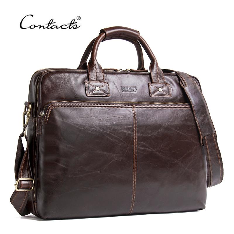 CONTACT'S Genuine Leather Men Bag Luxury Brand Shoulder Bags Male Messenger Bag New Business Handbag For 15.6' Laptop Briefcase