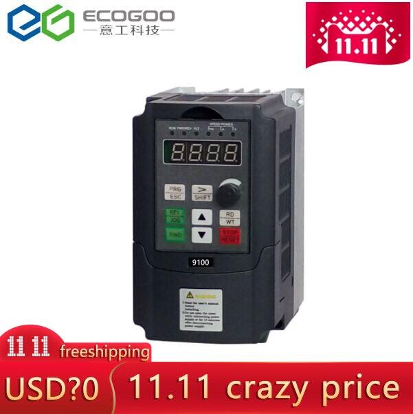 Convertisseur de fréquence   mini convertisseur de fréquence 0.75 1.5 220 2.2kw 380V monophasé V 3 phases entrée convertisseur de fréquence VFD