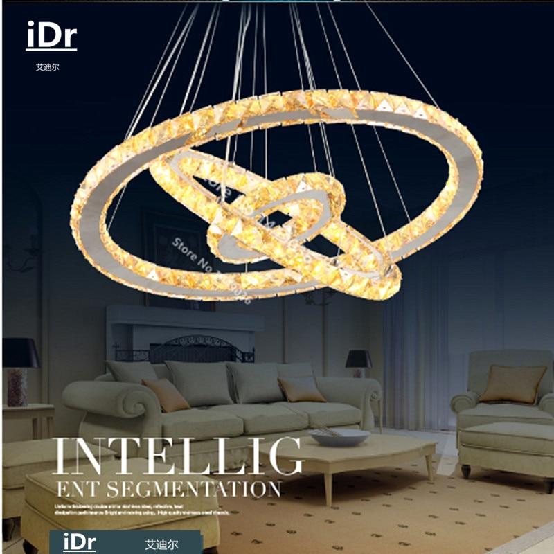 مصباح كريستال K9 LED بيضاوي الشكل من 3 حلقات ، تصميم حديث ، إضاءة زخرفية داخلية ، مثالي لغرفة النوم.