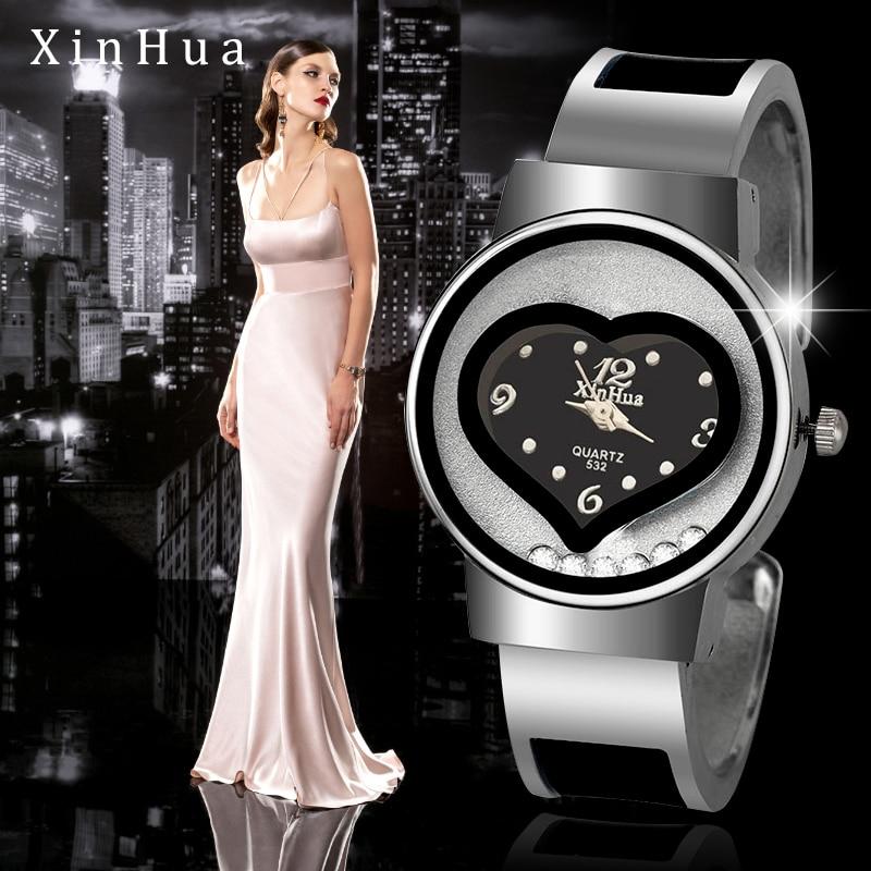 New Hot sell XINHUA bracelet watch women blue luxury brand stainless steel dial quartz wristwatches ladies fashion bangle watch