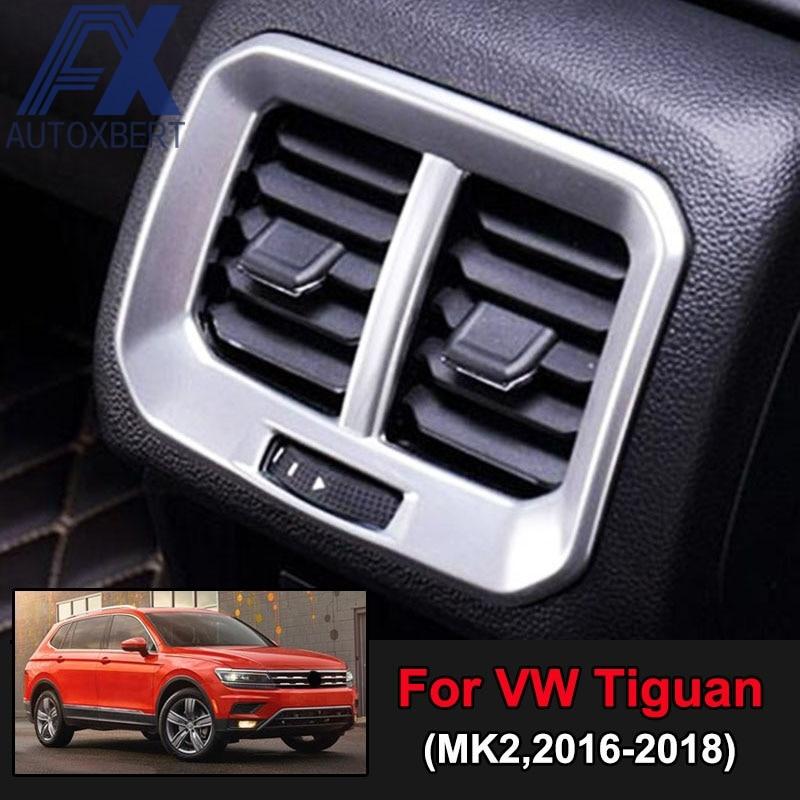 AX Chrome Interior Rear Air Vent Cover Armrest Outlet Trim Bezel Sticker Decoration For Volkswagen VW Tiguan MK2 2016 2017 2018