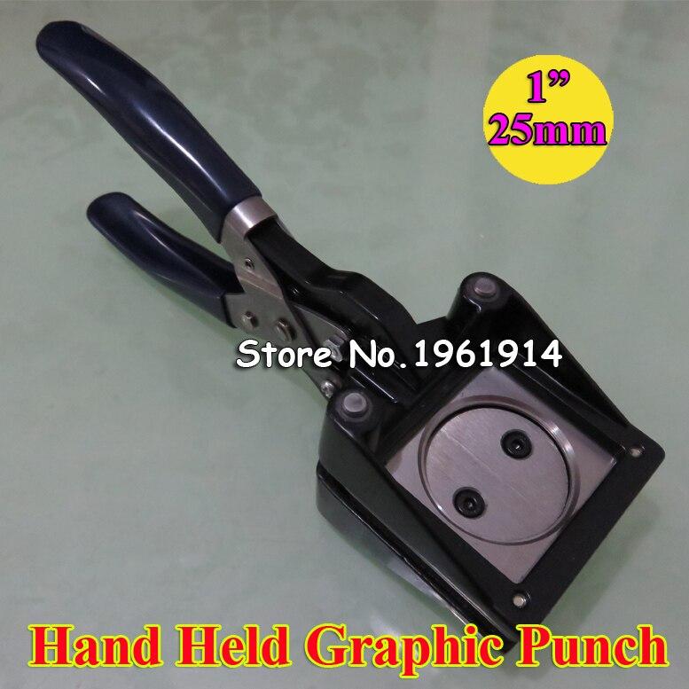 """Nuevo Manual de mano redondo 25mm 1 """"papel golpe gráfico troquelador para Pro botón Maker Diamante de corte 25mm"""