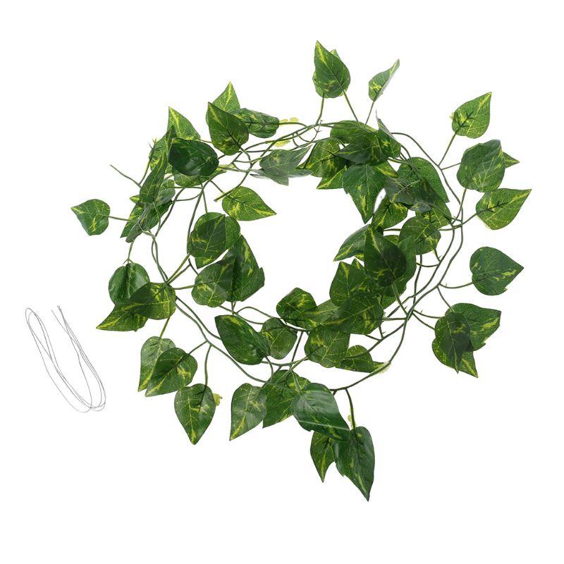 Artificial Vine Reptile Terrarium Box Habitat Landscaping Green Fake Plants Leaves