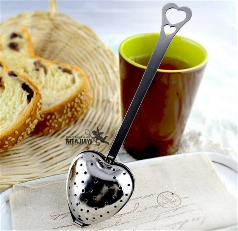 8% New Heart Shaped Filter Tea Balls Stainless Steel Tea Strainers Oblique Tea Stick Tube Tea Infuser Steeper H-48