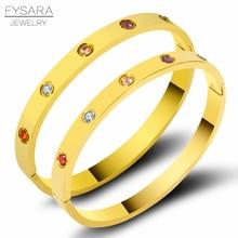 FYSARA luxe coloré zircone cristaux Bracelets & Bracelets en acier inoxydable vis beaux Bracelets pour femmes Couple Pulseiras